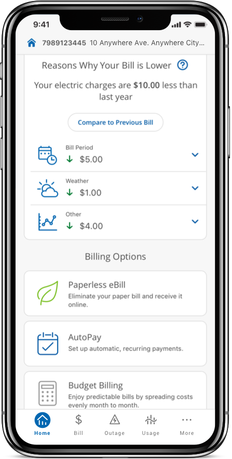 Bill pay screen from the mobile app